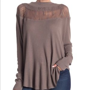 NWT free people spring valley taupe waffle knit